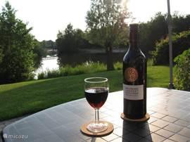 Genieten van het mooie uitzicht vanaf het terras, drinkt u het glas leeg?