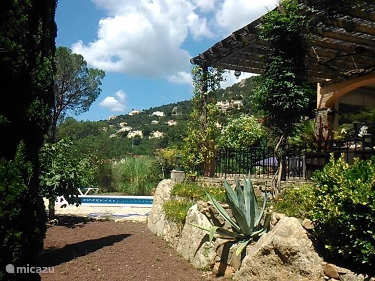 Zijaanzicht zwembad met zonneterras