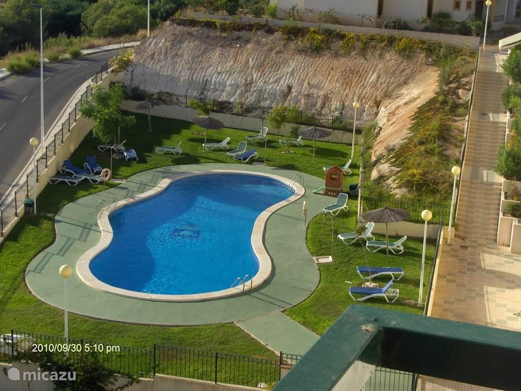 Uitzicht op het zwembad; speciaal voor de eigen bewoners en gasten.