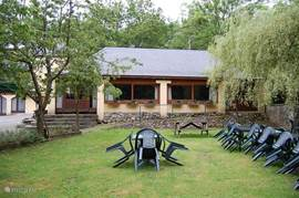 The garden with garden furniture.