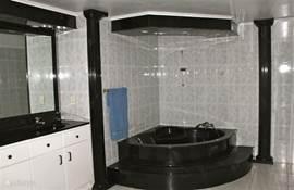 A spacious bathroom with a spacious bath