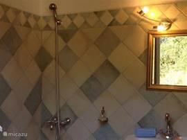 De badkamer in het gastenverblijf.