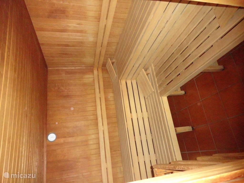 The sauna is in another room