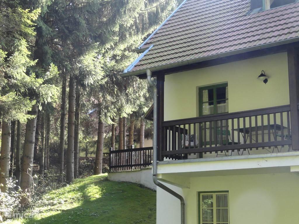 Balkon met prachtig uitzicht op de bossen