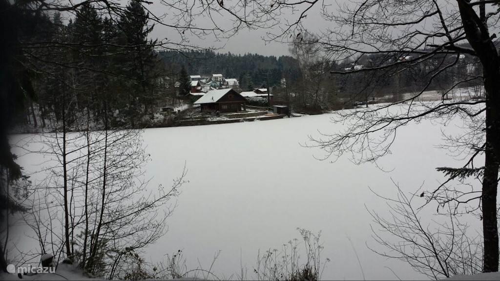 Een blik over de Herrensee richting het dorpje Litschau