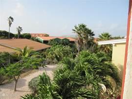 Uitzicht vanaf terras op de binnentuin