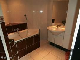De ruime badkamer, met een badkamermeubel waar al uw toilet spulletjes in opgeborgen kunnen worden