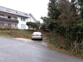 tegenover de villa ligt nog een pad, hier kan evt. nog een auto staan ,mits hier op dat moment niemand gebruik van  hoeft te maken op dat moment