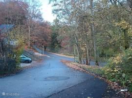 het weggetje naast de villa, U stapt zo de natuur in het prachtige park van Usseln op nog geen 50 meter van Uw voordeur