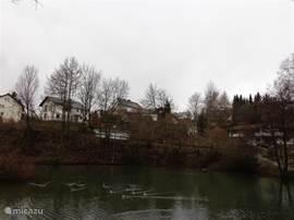 foto vanuit het mooie wandel park genomen voor U ziet u de villa liggen