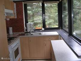 The kitchen is equipped with a large fridge freezer, oven, microwave, afzuigkamp