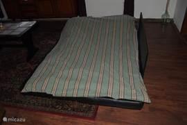 uitgeklapt extra 2 persoonsbed in woonkamer