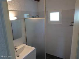 Bathroom with shower, sink and heater.