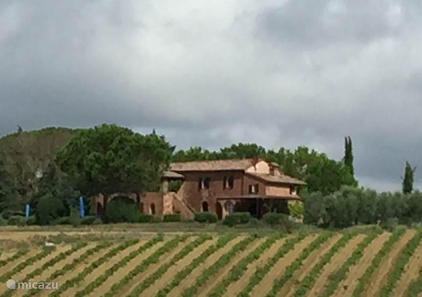 prachtig zicht op het huis vanuit de wijngaarden