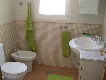 Verwarmde badkamer met ligbad, douche, toilet, bidet en wastafel.