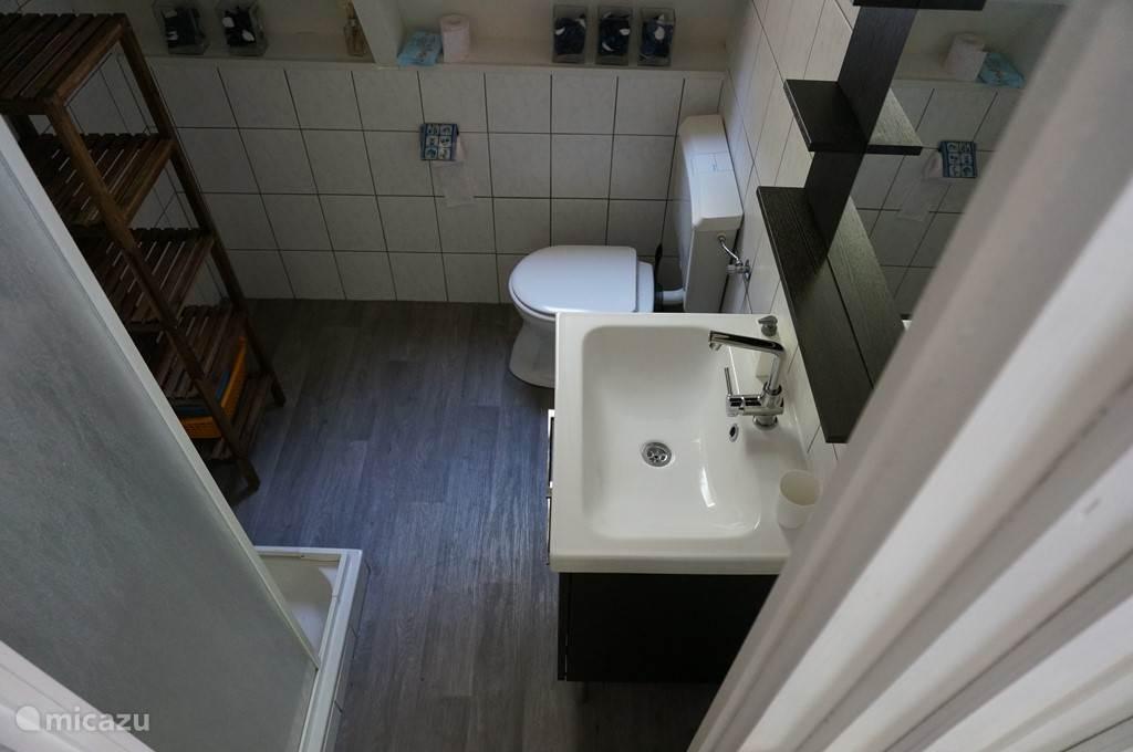 badkamer met douche, toilet, wastafelkast en handdoekenrek voor voldoende opbergruimte