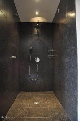 large walk-in shower with rain and waterfall spray with cold water: refreshing after using the sauna!