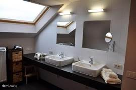 large sink with two basins, with individual mirrors and shaving mirror. A hair dryer is available.