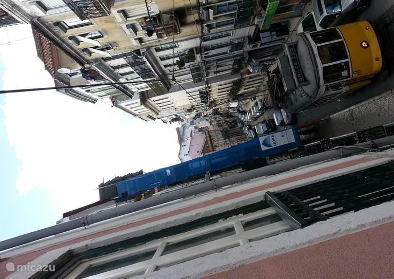 Uitzicht van het frans balkon