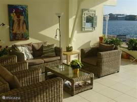 The luxurious lounge set in the large open living area. You have from the lounge a beautiful view of the sea
