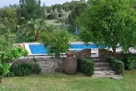 Quinta Alfaval heeft een ruim zwembad in een begroeide tuin met ligbedden en parasols