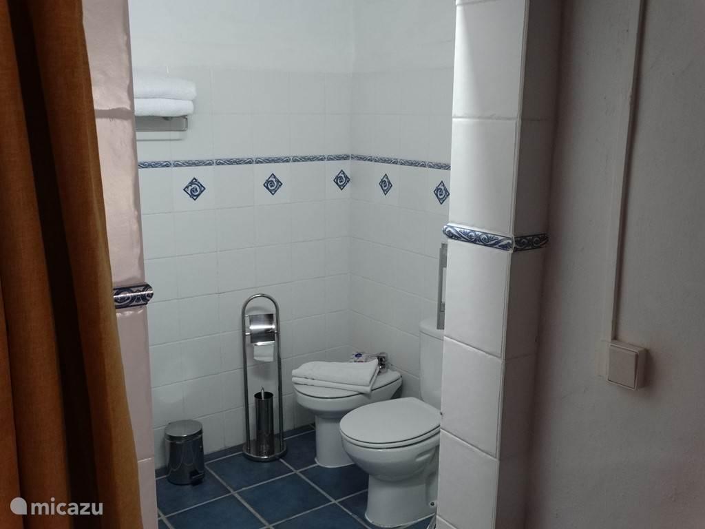 De badkamer van Flores met douche cabine, wastafel en toilet