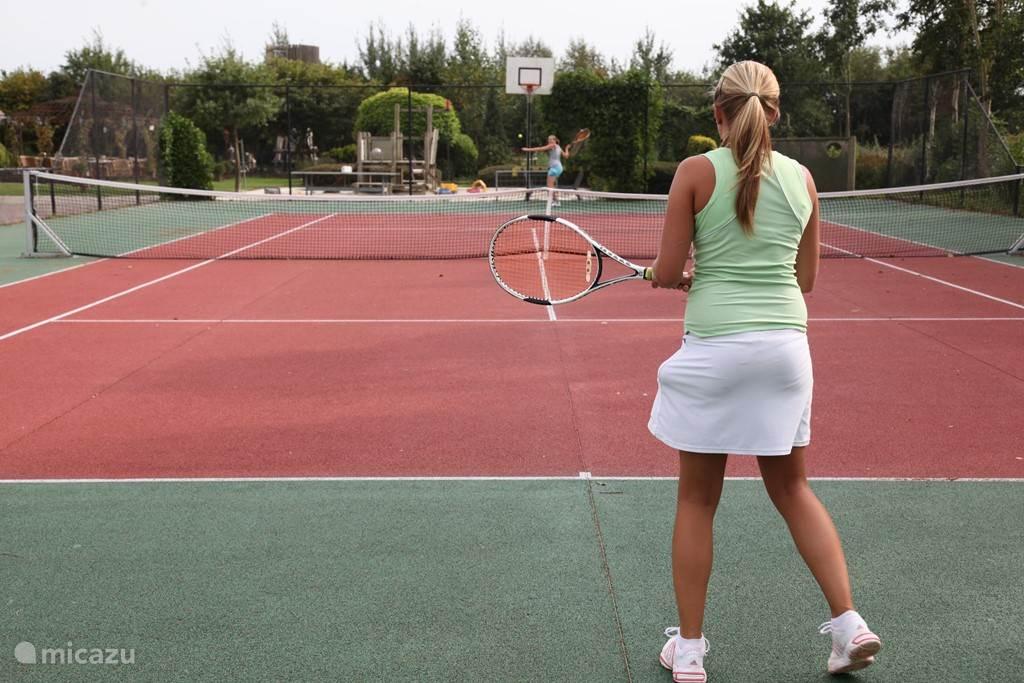 De tennisbaan welke slechts tegen een consumptie per persoon is te gebruiken!