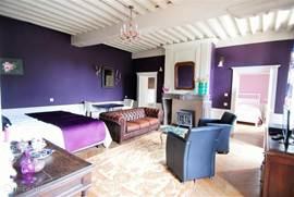 erg ruime zitkamer op de eerste verdieping. op deze kamer staan ook 2 luxe boxspring bedden, ideaal als gezinsappartement vanwege de slaapkamer en suite