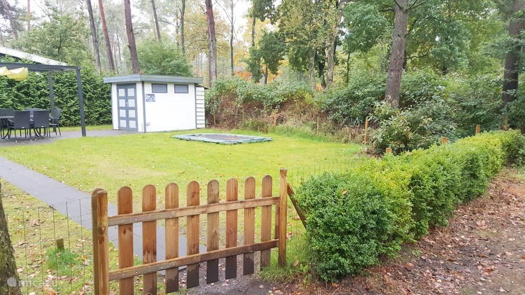 De tuin met trampoline, tuinpaviljoen en schuurtje en uiteraard het uitzicht op het bos