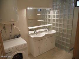 bathroom radiator, sink with two sinks, shower, toilet and washing machine