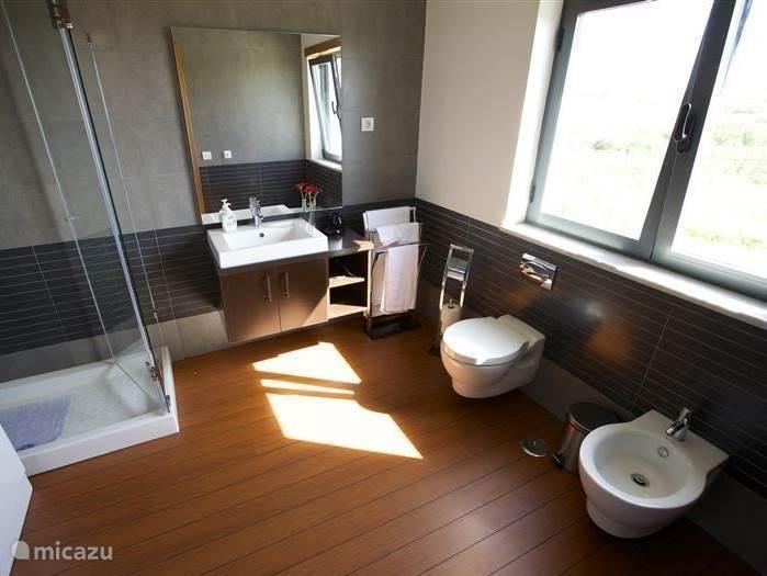 De grote badkamer die bij de master bed room hoort. Ook in deze badkamer treft u alle luxe aan, een wastafel, toilet en bidet, hydro massage douche en bubbelbad. Uw favoriete muziek beluistert u via het ingebouwde soundsystem.