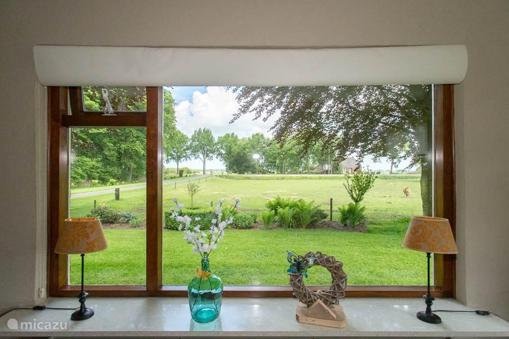 Het uitzicht vanuit de woonkamer en woonkeuken