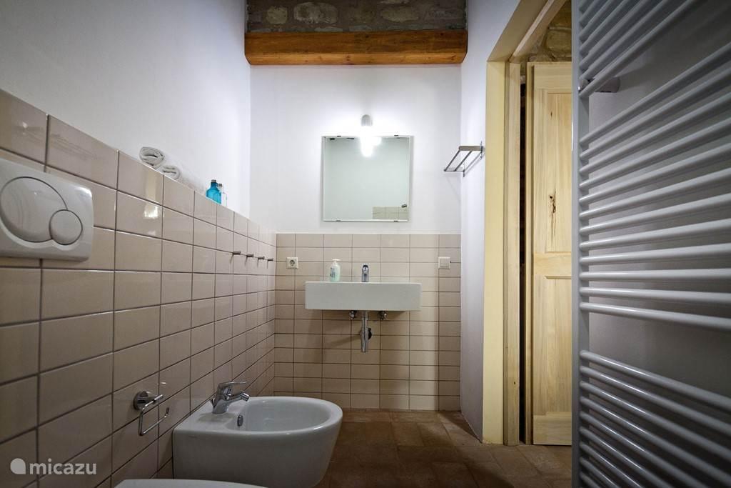 mooi betegelde badkamers met toilet, bidet, wastafel en douche of bad