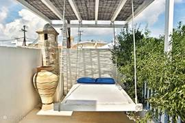 hanging bed on roof terrace