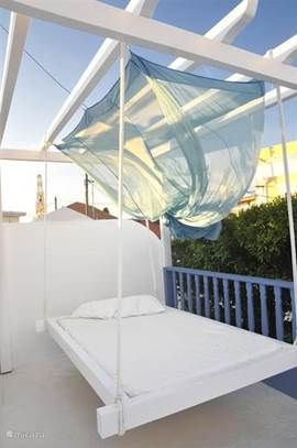 hanging double bed, on one of the roof terraces