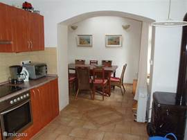 This is our renovated in 2006, all new kitchen. With underfloor heating. With a very well functioning wood stove.