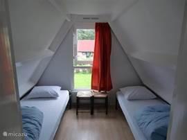 Twee slaapkamers, een met tweepersoonbed en een met 2 eenpersoonsbedden.