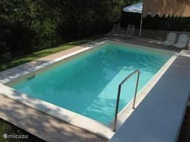 Het heerlijke zwembad, wat 's avonds verlicht kan worden. Er zijn ligstoelen aanwezig alsmede ook luchtmatrassen en ander speelgoed voor in het zwembad. Het zwembad is alleen voor eigen gebruik.