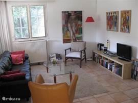 Woonkamer met bank, stoelen, veel boeken, DVDs, CDs, TV etc.