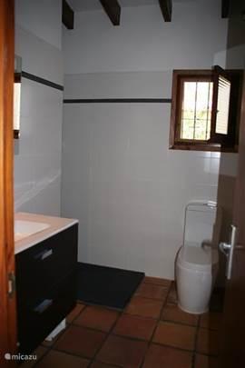 badkamer, ruime douche, aparte wastafel en toilet