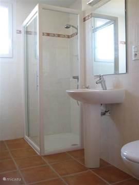 De badkamer boven met douche, toilet, wastafel en ruime kast met handdoeken en opbergruimte voor toiletartikelen.