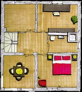Plattegrond van de eerste verdieping van de villa. In de villa beschikt u over drie slaapkamers op deze verdieping in tegenstelling tot de afgebeelde plattegrond uit de brochure.