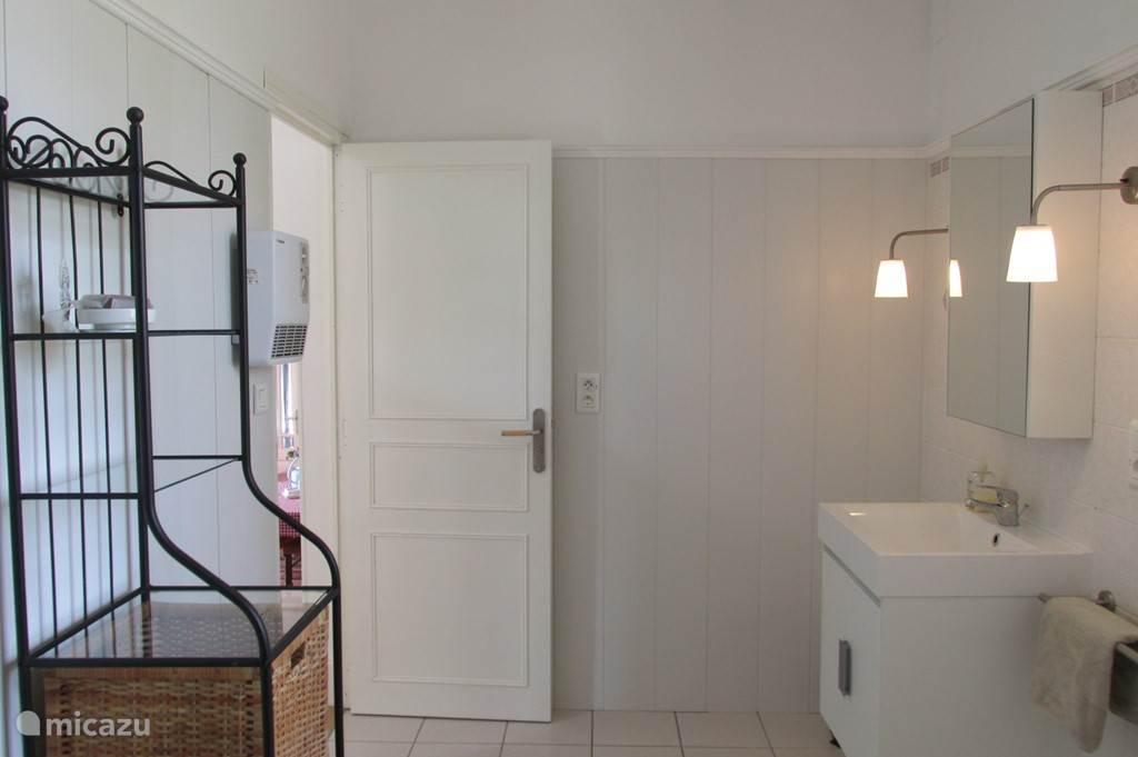 De badkamer heeft een inloopdouche, wastafel en wasmachine.