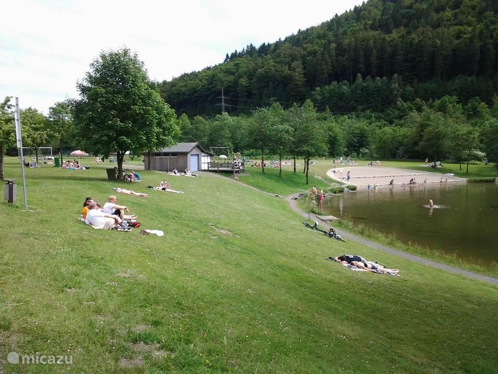 op de grasweide aan het zwemwater.