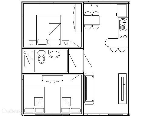 """The two -slp.km. Features 3 """"Queen size"""" beds for 6 + 1 cot. A total of 60 m2 with a private terrace of 25 m2"""