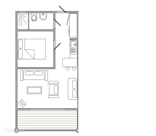 Onze luxe 1-slp.km appartementen hebben ruime woonkamer en in de slp.km. een  Queen size bed voor 2 personen.  Totaal 55 m2.