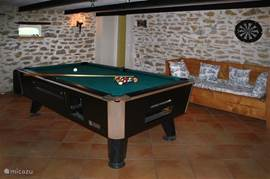 The pool table in the living room.