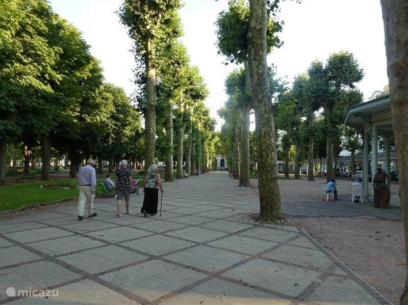 De promenade in Vichy leidt naar zowel het operagebouw en de natuurlijke bronnen als naar het casino.