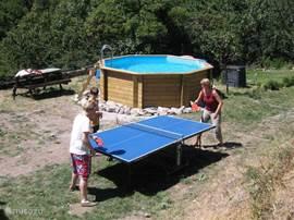Het zwembad staat naast de boerderij en zorgt voor verkoeling tijdens de warme dagen.