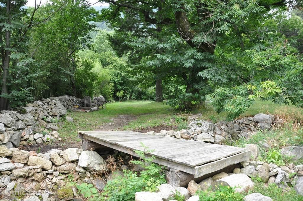 bruggetje naar de boomgaard en het riviertje